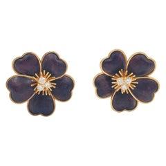 Van Cleef & Arpels Clématite Yellow Gold Bois D'amourette 'Letter Wood' Earrings