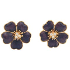 Van Cleef & Arpels Clématite Yellow Gold Bois D'amourette 'Letter Wood' Earrings