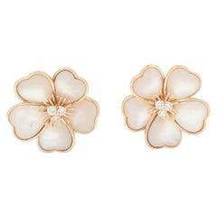 Van Cleef & Arpels Clématite Yellow Gold Mother of Pearl Earrings