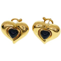 Van Cleef & Arpels Coeur Heart Onyx Gold Studs Earrings