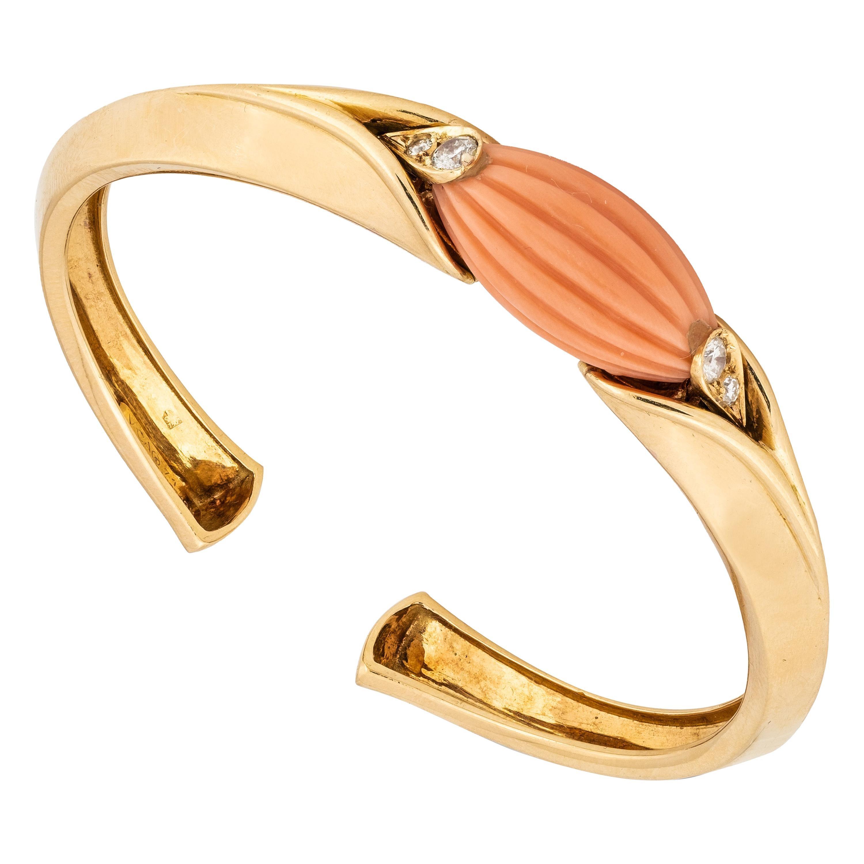 Van Cleef & Arpels Coral & 18k Bracelet w/ Diamonds