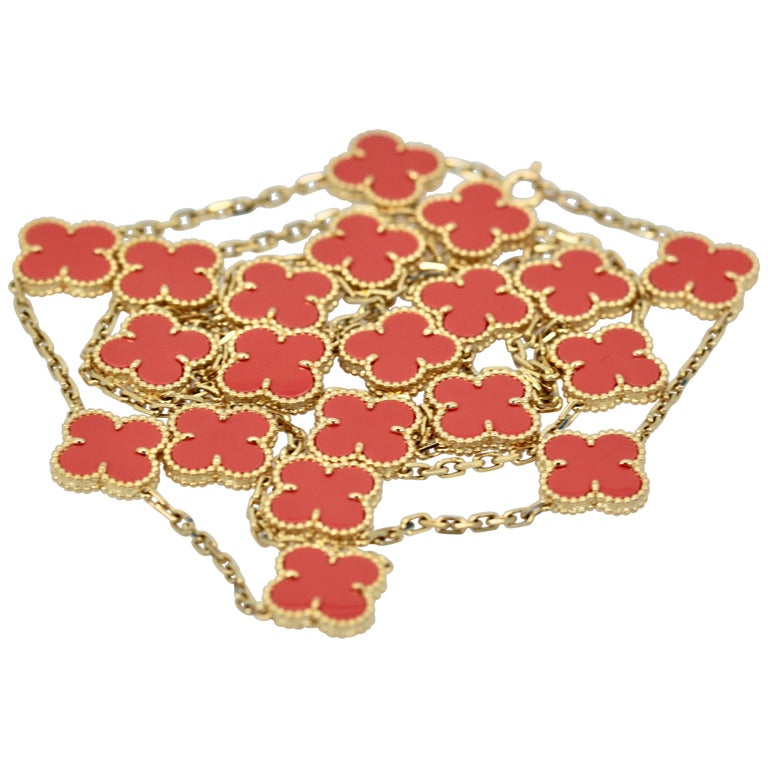 Van Cleef & Arpels Coral Alhambra 20 Motif Necklace 18 Karat Yellow Gold For Sale