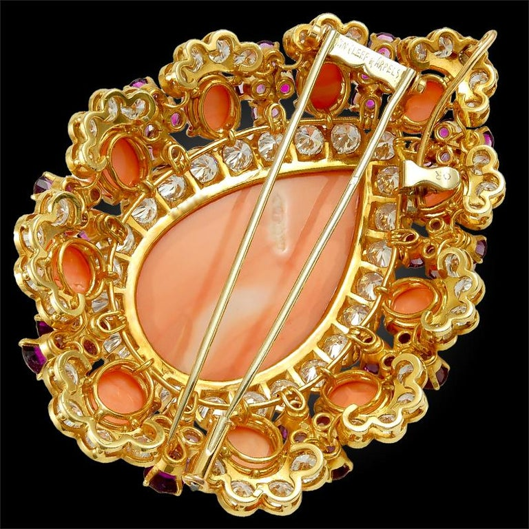 Round Cut Van Cleef & Arpels Coral Amethyst Diamond Brooch Pendant and Ear Clips For Sale