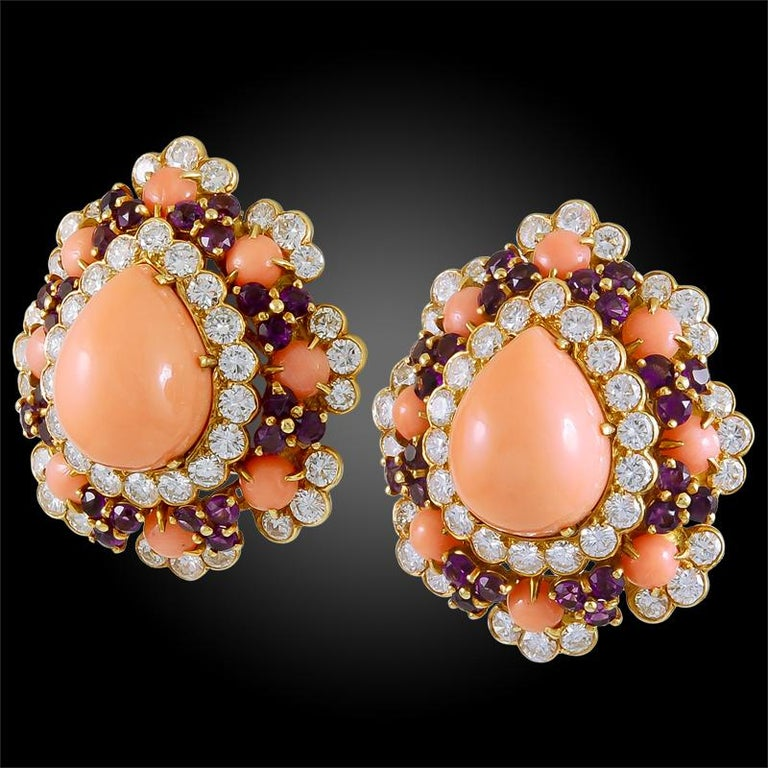 Van Cleef & Arpels Coral Amethyst Diamond Brooch Pendant and Ear Clips In Good Condition For Sale In New York, NY