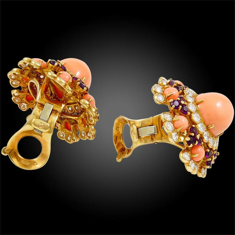 Women's Van Cleef & Arpels Coral Amethyst Diamond Brooch Pendant and Ear Clips For Sale