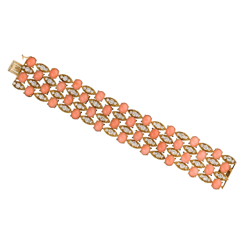 Van Cleef & Arpels Coral and Diamond Bracelet