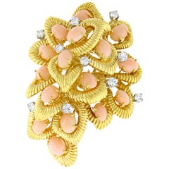 Van Cleef & Arpels Coral and Diamond Brooch