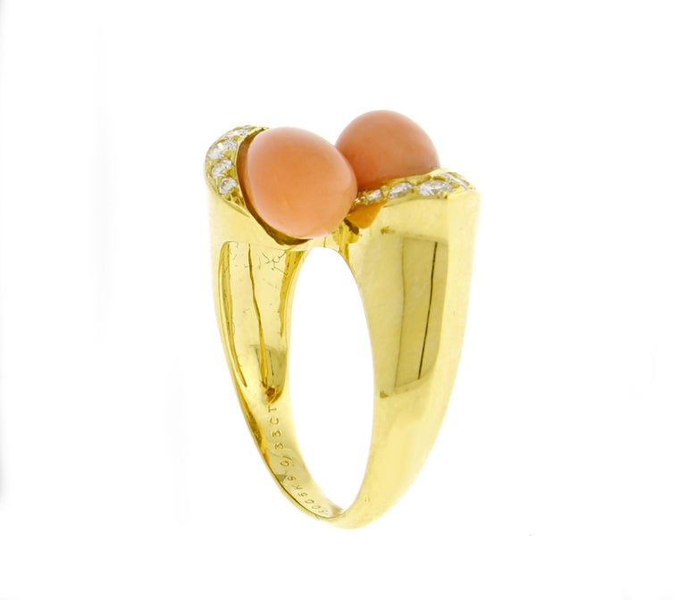 Van Cleef & Arpels Coral and Diamond Ring For Sale 2