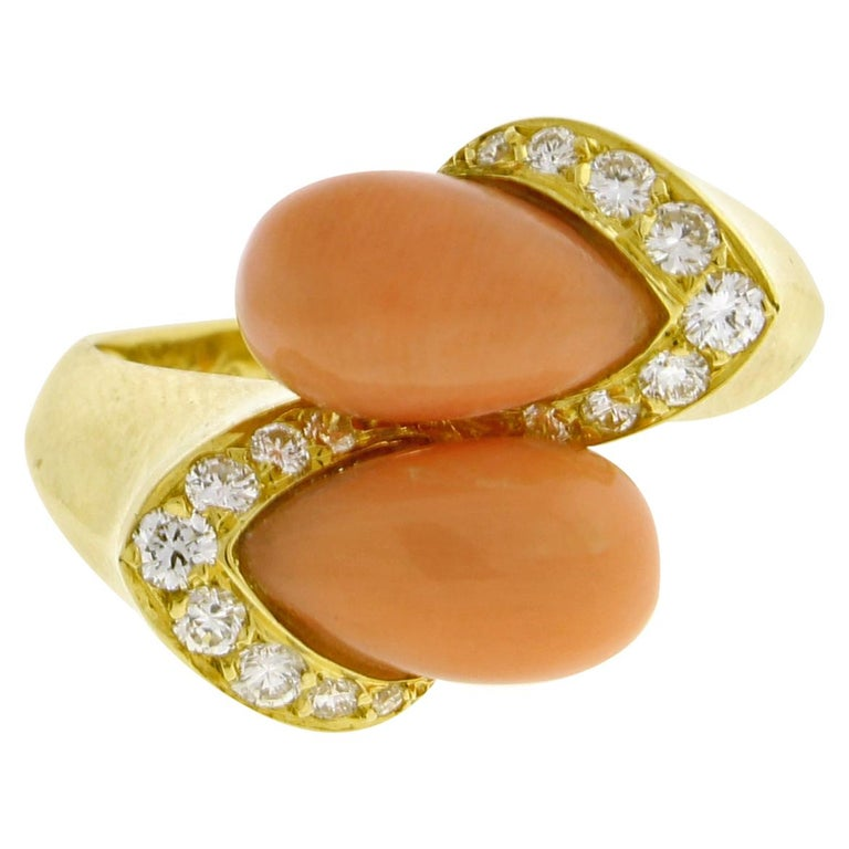 Van Cleef & Arpels Coral and Diamond Ring For Sale