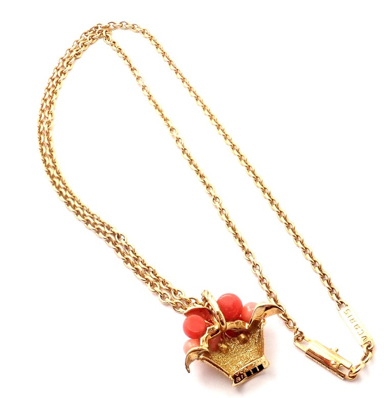Van Cleef & Arpels Coral Bead Fruit Basket Yellow Gold Pendant Necklace For Sale 7
