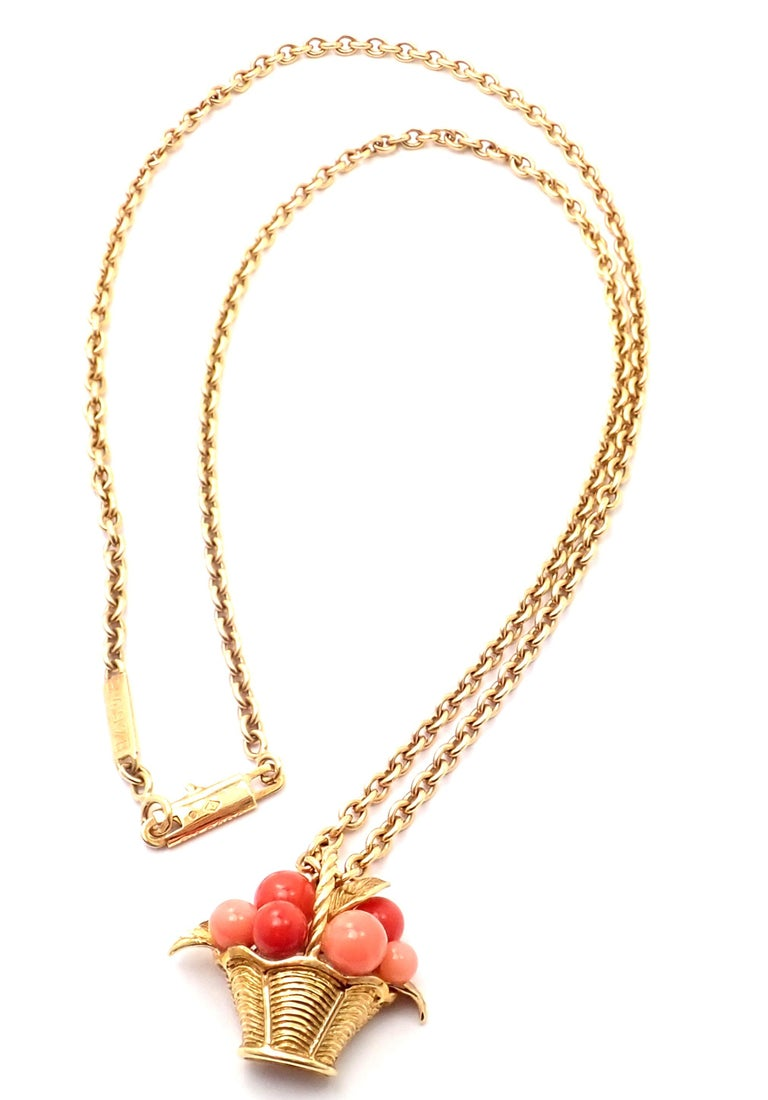 18k Yellow Gold Coral Bead Fruit Pendant Necklace by Van Cleef & Arpels. With 6 round coral beads Details:  Measurements: Length: 18