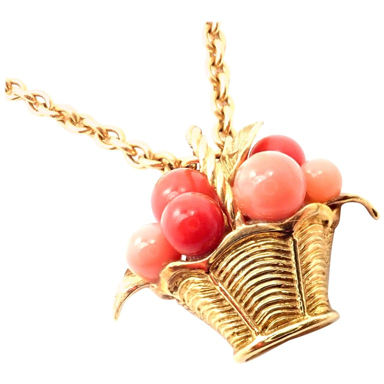 Van Cleef & Arpels Coral Bead Fruit Basket Yellow Gold Pendant Necklace For Sale