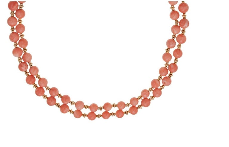 Van Cleef & Arpels Coral Bead Necklace In Excellent Condition For Sale In New York, NY