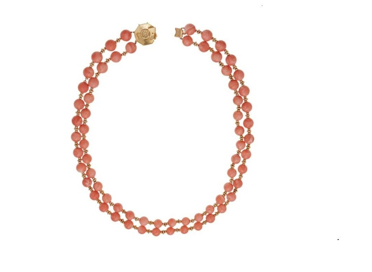 Van Cleef & Arpels Coral Bead Necklace For Sale 1