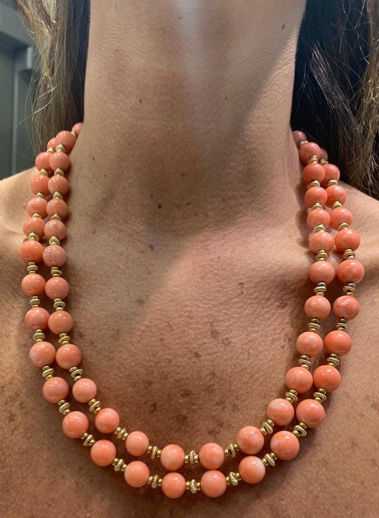 Van Cleef & Arpels Coral Bead Necklace For Sale 3