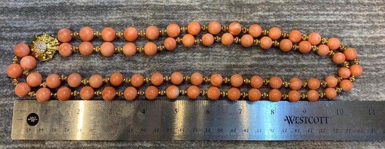 Van Cleef & Arpels Coral Bead Necklace For Sale 5