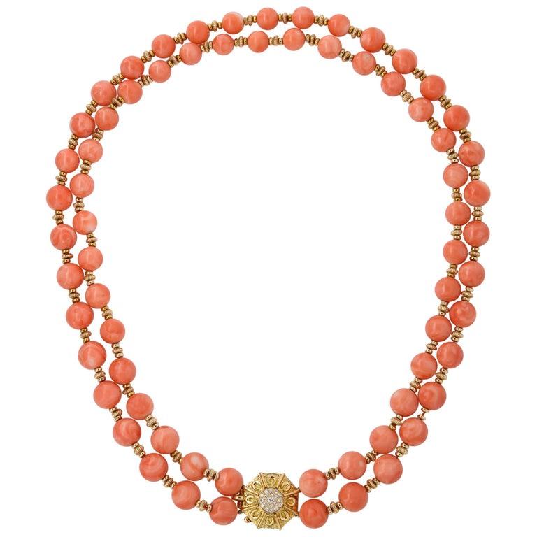 Van Cleef & Arpels Coral Bead Necklace For Sale