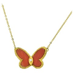 Van Cleef & Arpels Coral Butterfly Alhambra Gold Diamond Necklace