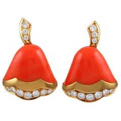 Van Cleef & Arpels Coral Diamond Bell Earrings