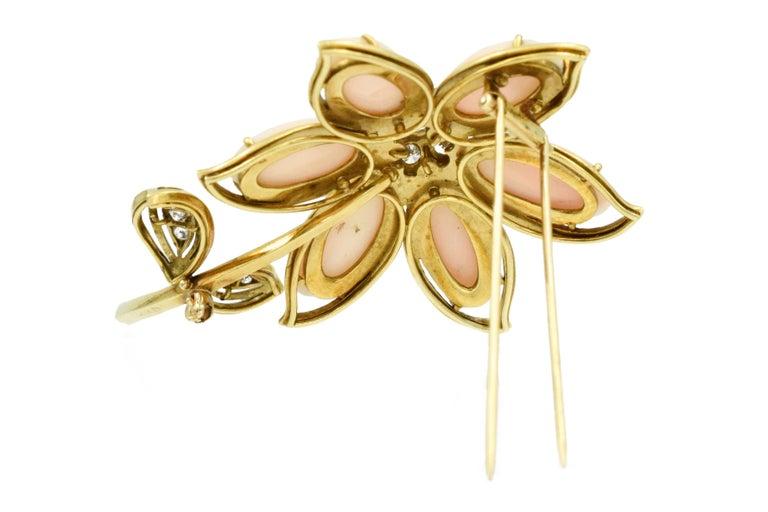 Women's Van Cleef & Arpels Coral Diamond Brooch For Sale