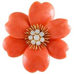 Van Cleef & Arpels Coral Diamond Rose de Noel Brooch