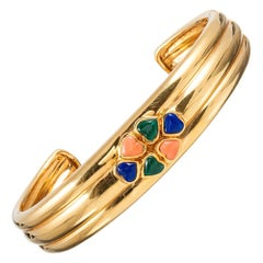 Van Cleef & Arpels Coral, Malachite and Lapis Heart Cluster Cuff