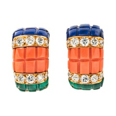 Van Cleef & Arpels Coral, Malachite and Lapis Lazuli Ear Clips