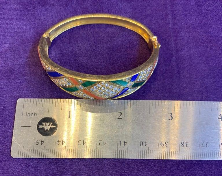Van Cleef & Arpels Coral Malachite Lapis Lazuli and Diamond Bangle For Sale 5