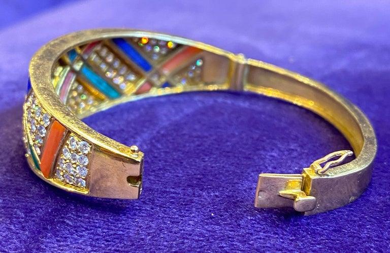 Van Cleef & Arpels Coral Malachite Lapis Lazuli and Diamond Bangle For Sale 1