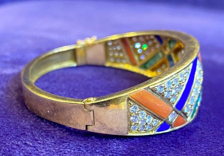 Van Cleef & Arpels Coral Malachite Lapis Lazuli and Diamond Bangle For Sale 2
