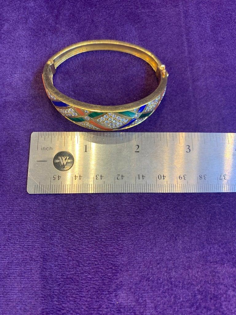 Van Cleef & Arpels Coral Malachite Lapis Lazuli and Diamond Bangle For Sale 4