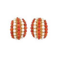 Van Cleef & Arpels Coral Pearls Gold Earclips
