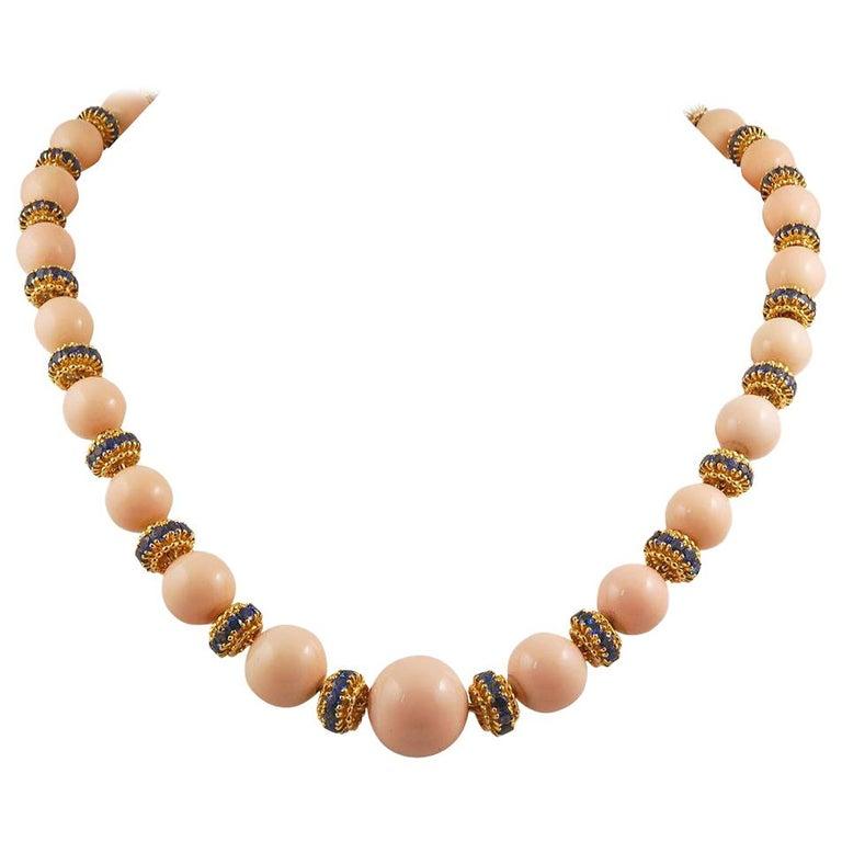 Van Cleef & Arpels Coral, Sapphire Necklace or Bracelet For Sale