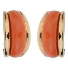 Van Cleef & Arpels Coral Yellow Gold Hoop Earrings
