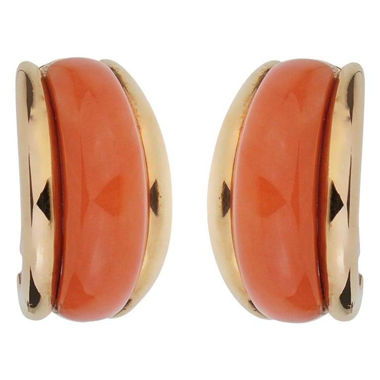 Van Cleef & Arpels Coral Yellow Gold Hoop Earrings For Sale