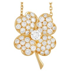 Van Cleef & Arpels Cosmos 18K Yellow Gold 1.84 Ct Diamond Flower Brooch/Pendant