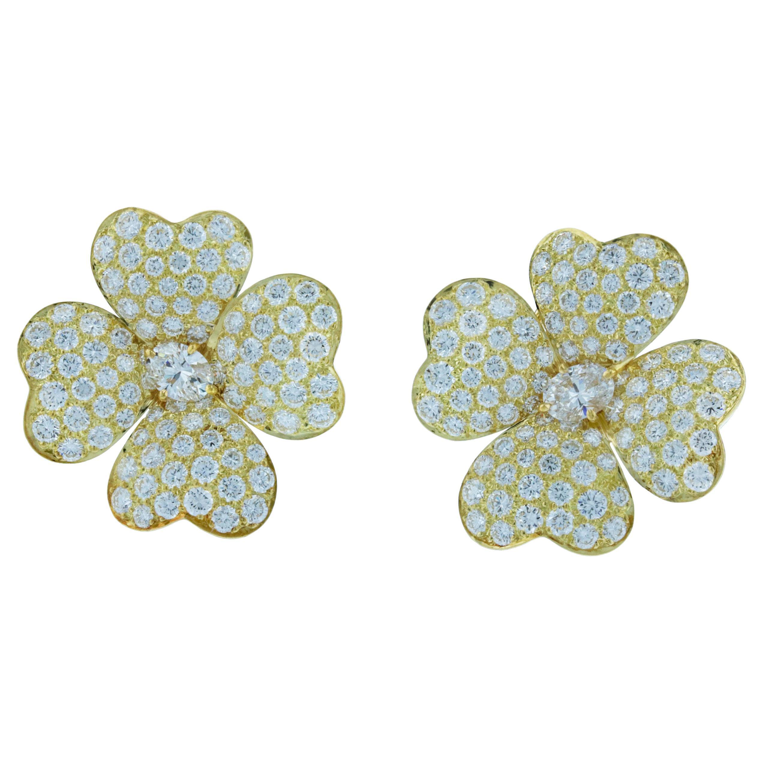 Van Cleef & Arpels Cosmos Diamond Earrings in 18K Yellow Gold, Large Model