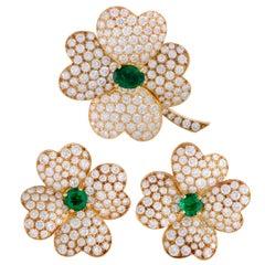 Van Cleef & Arpels Cosmos Diamond & Emerald Gold Flower Brooch and Earring Set
