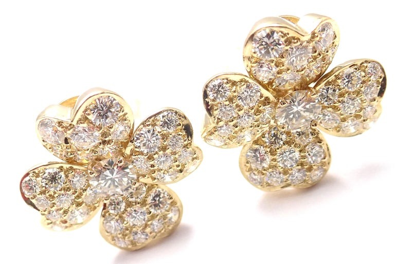 18k Yellow Gold Cosmos Diamond Flower Earrings by Van Cleef & Arpels.  With 84 round brilliant cut diamonds VVS1 clarity, E color total weight approx. 2.2ct These earrings come with a VCA box. ***These earrings are for not pierced ears, but they can