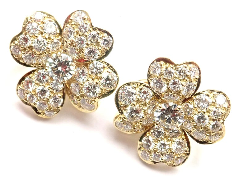 Van Cleef & Arpels Cosmos Diamond Flower Yellow Gold Earrings For Sale 4