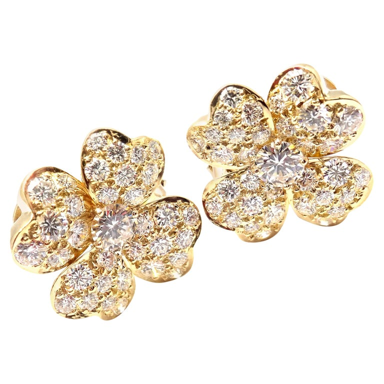 Van Cleef & Arpels Cosmos Diamond Flower Yellow Gold Earrings For Sale