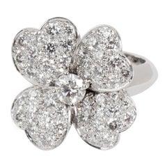 Van Cleef & Arpels Cosmos Flower Diamond Ring in 18 Karat White Gold 1.85 Carat