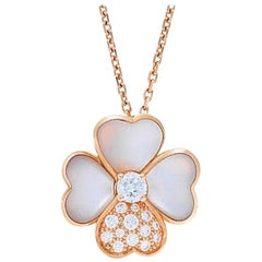 Van Cleef & Arpels Cosmos Pendant Rose Gold Mother of Pearl Diamonds