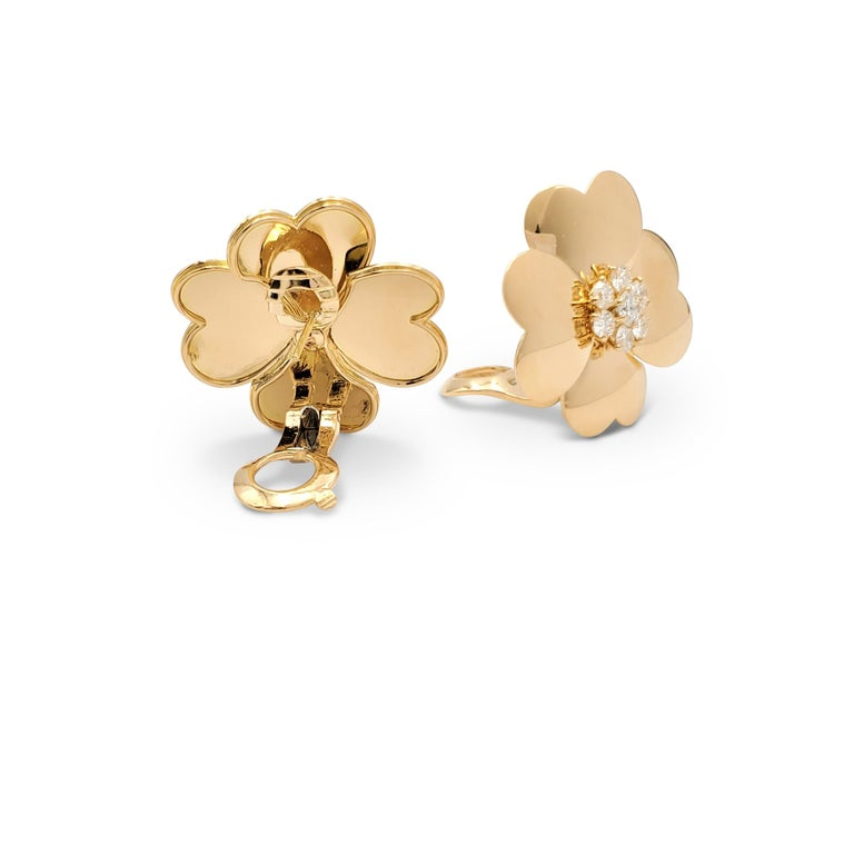 Round Cut Van Cleef & Arpels 'Cosmos' Yellow Gold and Diamond Earrings