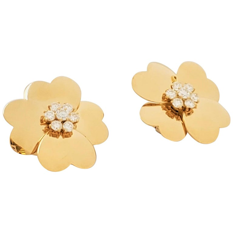 Van Cleef & Arpels 'Cosmos' Yellow Gold and Diamond Earrings For Sale