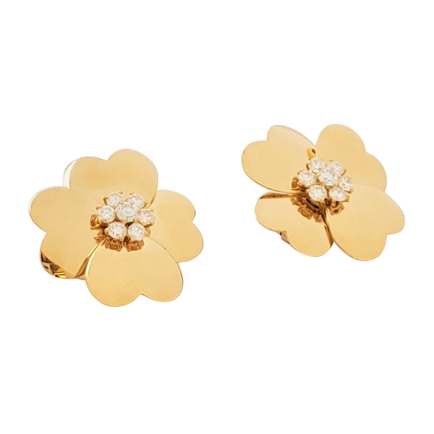 Van Cleef & Arpels 'Cosmos' Yellow Gold and Diamond Earrings