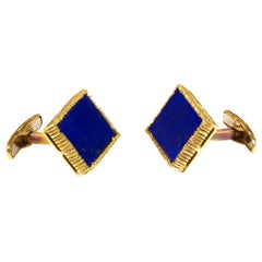 Van Cleef & Arpels Cufflinks, 18 Karat Gold & Natural Lapis Lazuli, French, 1965