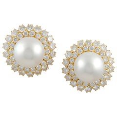 Van Cleef & Arpels Diamond Cultured Pearl Yellow Gold Ear Clips