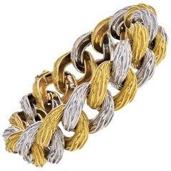 Van Cleef & Arpels Curb Link Two-Tone Vintage Gold Bracelet