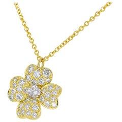 Van Cleef & Arpels Diamond 18 Karat Yellow Gold Cosmos Clip Pendant Necklace